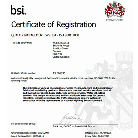 bsi quality management certificate